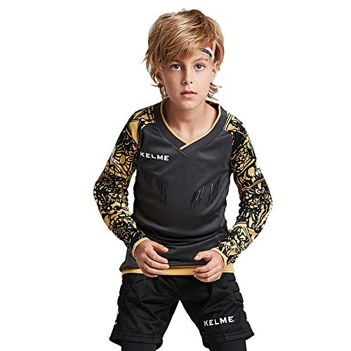 KELME Kids Padded Goalie Shirt, Youth Goalkeeper Jersey, Long Sleeve Turf Training Soccer Uniform (Gray, 160cm)