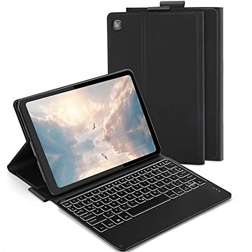Funda con teclado retroiluminado para Samsung Galaxy Tab S6 Lite 10.4' 2020, teclado QWERTZ desmontable con funda protectora para Samsung Tablet P610/P615, color negro