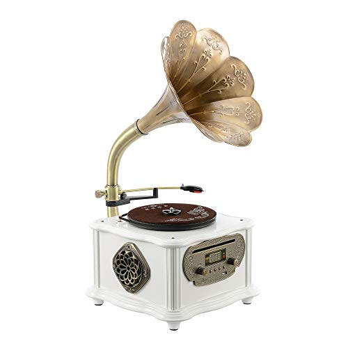 White Vintage Classic Home Decoration Retro Antique Gramophone Phonograph Turntable Vinyl Record Player Stereo Speakers System Control 33/45 RPM FM AUX USB CD Ouput Bluetooth 4.2 (White)