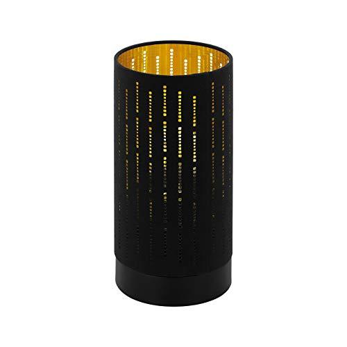 EGLO Tischlampe Varillas, 1 flammige Tischleuchte Modern, Nachttischlampe aus Stahl und Textil, Wohnzimmerlampe in schwarz, gold, Lampe mit Schalter, E27 Fassung