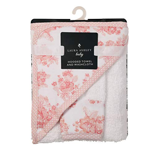 Laura Ashley Infant Hooded Towel and Washcloth, Rose Print