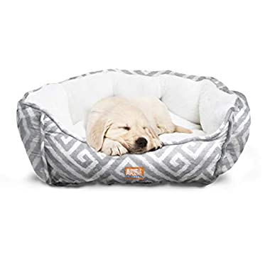 "Animal Planet Round Plush Micro Suede & Sherpa Bolster Pet Bed for Dogs & Cats, Puppies, and Small & Toy Breeds; Cuddly and Warm for Burrowing and Snuggling, Easy-to-Clean 24""x 17""x 9"" Gray Grecian"