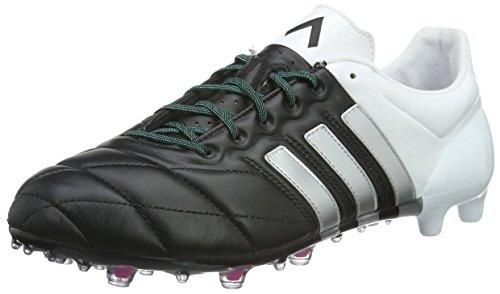 adidas Ace 15.1 FG/AG Leather, Botas de fútbol para Hombre, Negro/Plateado/Blanco (Negbas/Plamat/Ftwbla), 40 2/3 EU