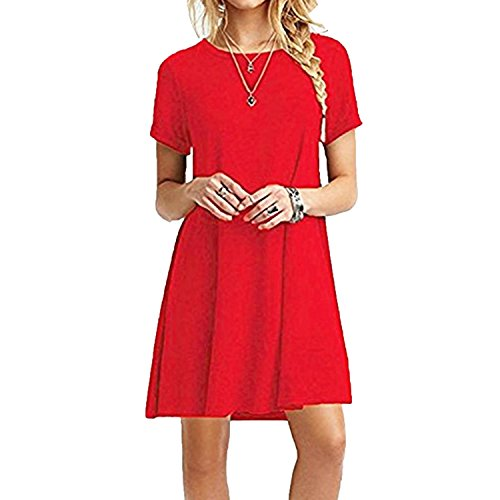 ZNYSTAR Frauen Sommer lose kurze Ärmel Casual Kleid Blusen Kleid lose Tunika Casual T-Shirt Kleid (S, Rot)