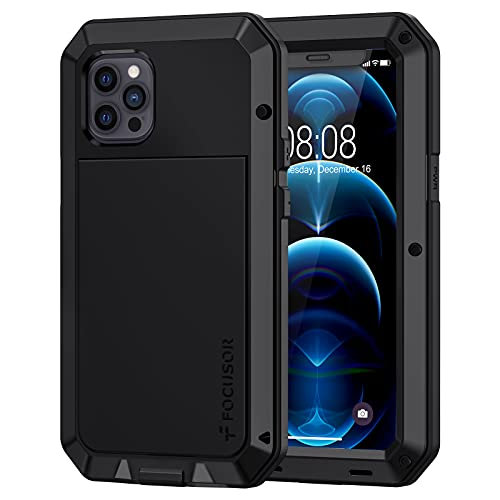 Focusor Cover iPhone 12 Pro Max Antiurto (6.7') [Resistente e Rugged] Robusta e Militare,Custodia Anticaduta con Protezione dello Schermo Integrata per iPhone 12 Pro Max 5G,Nero