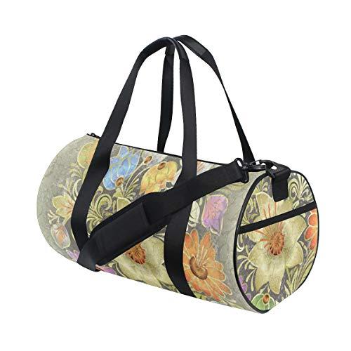 HARXISE Bolsa de Viaje,Estampado de Novia Ramo de Flores Vintage,Bolsa de Deporte con Compartimento para Sports Gym Bag