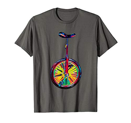 Cool Einrad Circus TShirt für Acrobat Fans Regenbogen Farben
