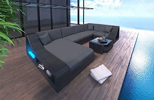 Canapé en poly rotin avec LED pour jardin ou terrasse.