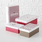 Paper Collection Muebles Hogar Accesorios DDecorativos Organización Contenedores Juego de 4 Cubos en Cartón de Almacenaje con Tapa Blanco y Rojo Varios Tamaños