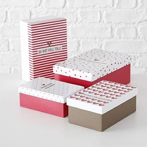 Paper Collection Geschenkschachtel Kartonage Box 4er Set Lovely rot weiß L17-23cm rechteckig