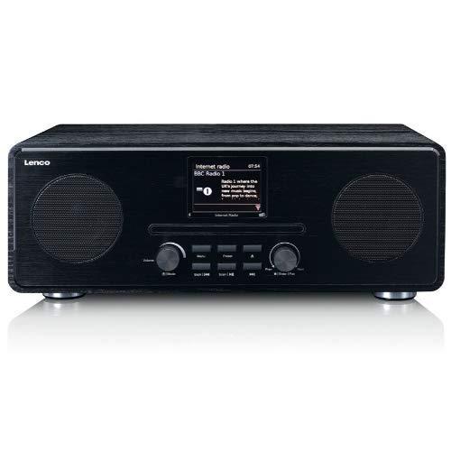 "Lenco DIR 260 Internetradio mit W-LAN - Digitalradio mit Bluetooth und Wi-Fi - DAB+ FM Radio - CD Player 2,8"" Farbdisplay - AUX - Weckfunktion - App Steuerung via Undok - 2 x 10 Watt RMS - Schwarz"