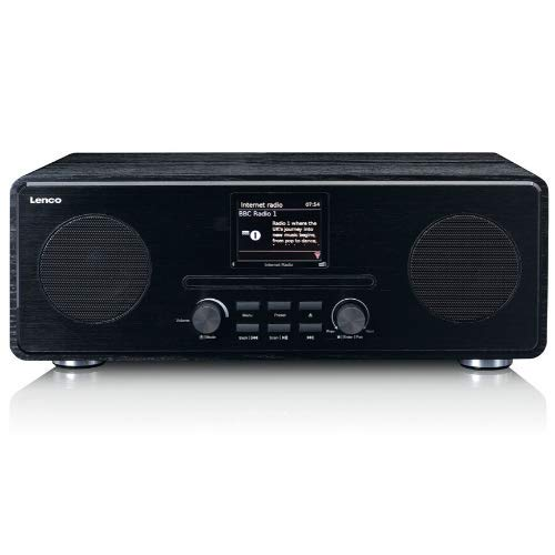 "Lenco DIR 260 Internetradio mit W-LAN - Digitalradio mit Bluetooth und Wi-Fi - DAB+ FM Radio - CD Player 2,8"" Farbdisplay - AUX - Weckfunktion - App Steuerung via Undok - 2 x 10 Watt RMS - Schwarz"