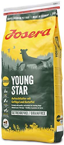 JOSERA YoungStar, getreidefreies Welpenfutter für mittlere und große Rassen, Super Premium Trockenfutter für wachsende Hunde, 1er Pack, (1 x 15 kg)