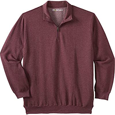 KingSize Men's Big & Tall Quarter Zip-Front Fleece Jacket - Tall - 3XL, Heather Deep Burgundy by KingSize