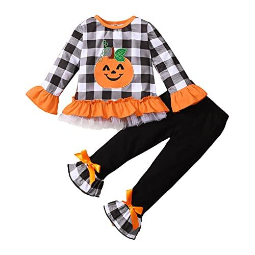 1-6T Niño Niña Ropa de Halloween Set Plaid Calabaza Camisetas Camisetas Jersey Tops+Flare Pantalones Conjunto, 4-5T, Negro