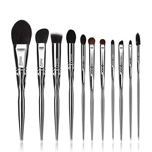 MSQ Lot de 11 pinceaux de maquillage avec sac en PU pour pinceaux de maquillage en laine de qualité supérieure, fond de teint en poudre Kabuki Blush mélangeant contour des fards à paupières, pinceau surligneur pour cils