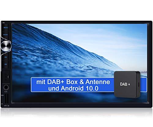 Tristan Auron BT2D7025A Android 10.0 Autoradio mit Navi + DAB+ Box - 7'' Touchscreen GPS Bluetooth Freisprechfunktion Quad Core WiFi USB SD I OBD 2 2 DIN