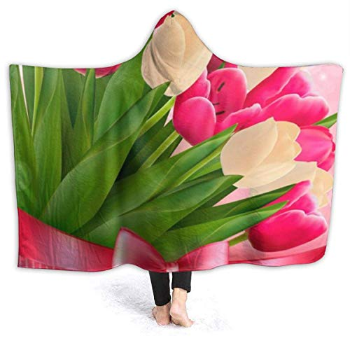 AEMAPE Día de la Madre Flores de tulipán Manta con Capucha para Mujer Manta de Franela súper Suave Sudadera con Capucha Bata con Capucha para Vestir Capa con Capucha para Ver películas 60 'x50'