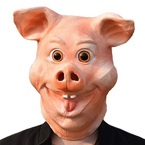 PARTY STORY Pink Pig Mask Halloween Cosplay Costume Latex Animal Head Masks for Adults Party Decoration Props Latex Head mask