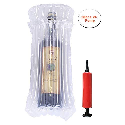 TXVSO Home Manicotti dell'involucro di Bolla del protettore della Bottiglia di Vino di Vetro per Sicurezza Che spedice, Borse d'imballaggio riempite Aria Gonfiabile con la Pompa Riutilizzabile, 20PCS