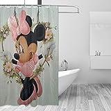 BLACKbiubiubiu Mickey Mouse Minnie - Cortina de ducha (60 x 72 cm), diseño de Minnie Mouse