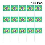 STOBOK 100 Stücke Brasilien Zahnstocher Flagge Kleine Mini Stick Flags Picks Party Dekoration Feier Cocktail Essen Bar Kuchen Fahnen
