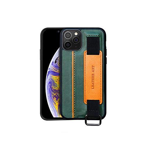 Funda de teléfono con ranura para tarjeta para iPhone 12 11 Pro Mini XS Max X XR SE 2020 7 8 6 6s Plus 8plus funda correa de muñeca soporte correa de mano cubierta verde para iPhone 8 Plus