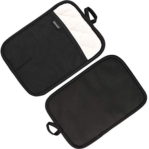 UXUNNY Pot Holders, Cotton Heat Resistant Pads for Kitchen - Thick Oven Pads for Baking, Neoprene Hot Pads for trivets, Long Oven Mitts with Loop, Nonslip Oven Gloves for Cooking - Black Hot Mats