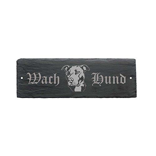 wetterfestes Schild « WACHHUND PITBULL » Türschild aus Schiefer - Hund 22 x 8 cm - Hund Dog