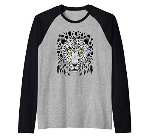 Leopard Cheetah para Hombres Mujeres Nios Grfico con ojos Camiseta Manga Raglan