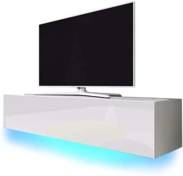 MEBLE FURNITURE RUGS Lana Modern High Gloss 55 TV Stand White
