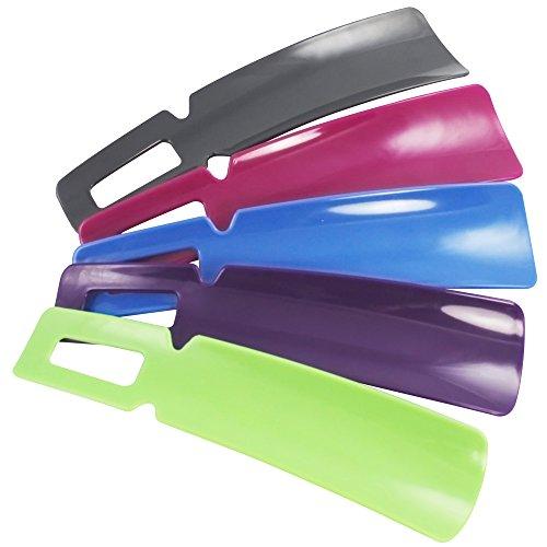 com-four® 5X Schuhanzieher in tollen Farben - Schuhlöffel mit kurzem Griff ideal für Reisen - Anziehhilfe für Schuhe aus Kunststoff - 16 cm (16cm - 5 Stück)