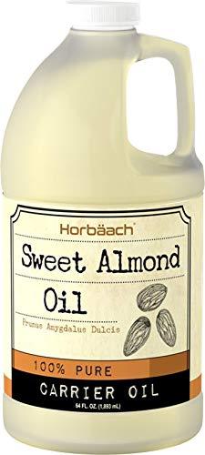 Horbaach Sweet Almond Oil 64 fl oz 100% Pure | for Hair Face amp Skin | Expeller Pressed | Vegetarian NonGMO