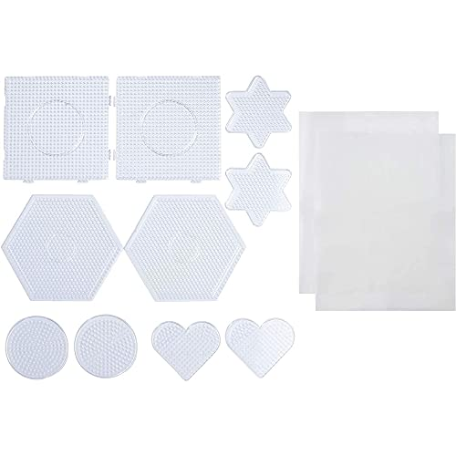Bead Pegboards - 10-Pack Melty Beads Pegboard in Circle Hexagon Heart Star...