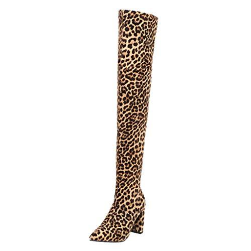 MaNMaNing-Shoes Damen Leopard Wildleder Overknee-Stiefel Modisch Elegant Bequem Slip-On Hoher Absatz Dehnbare Stiefel (Braun, 37 EU)