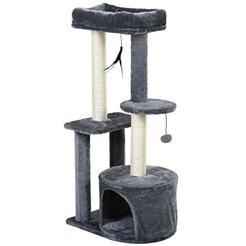 Pawhut Árbol para Gatos Multi-Niveles Torre de Gato con 1 Habitación 2 Plataformas Poste Rascador Sisal Tejido 48x35x100 cm Gris