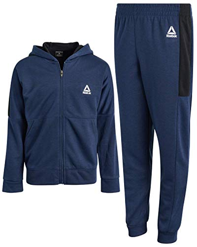 Reebok Boys' Tracksuit – Fleece Athletic Sweatshirt with Jogger Sweatpants (Toddler/Little Boys/Big Boys)(Bright Navy/White, 10)