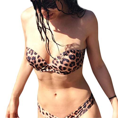 Amphia Traje de baño Dividido, Conjunto de Bikinis de Mujer Sexy Tankini Conjunto de Traje de baño de Leopardo brasileña de Dos Piezas