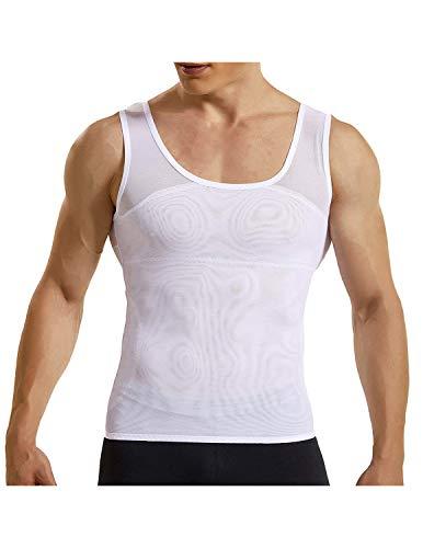 YCUEUST Camiseta de Tirantes Compresión Camisetas Interiores Elástica Vest Blanco Medium