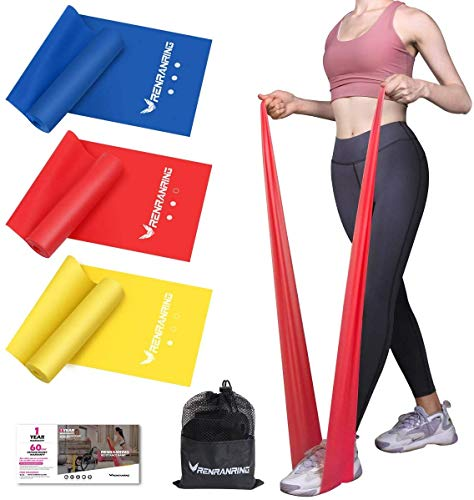 RENRANRING Resistance Bands Exercise Bands for Physical Therapy Yoga Pilates Rehab and Home Workout NonLatex Elastic Bands Set 3 YellowBlueRed