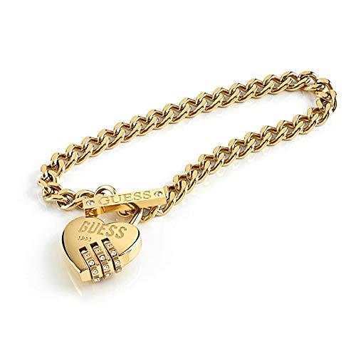 Pulsera Guess Lock Me Up UBB20057-S acero inoxidable chapado oro cristales Swarovski candado corazón