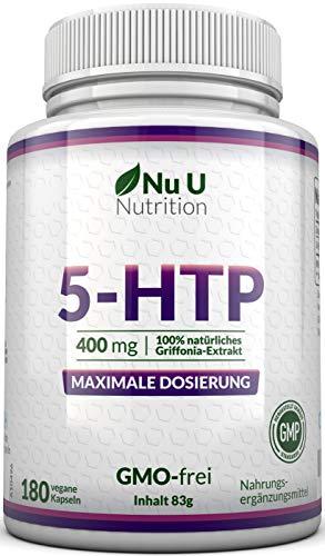 5-HTP 400mg maximal dosiertes Ergänzungsmittel   180 5 HTP Kapseln - im 6 Monatsvorrat   hochdosiertes 5htp   vegane 5 htp Kapseln