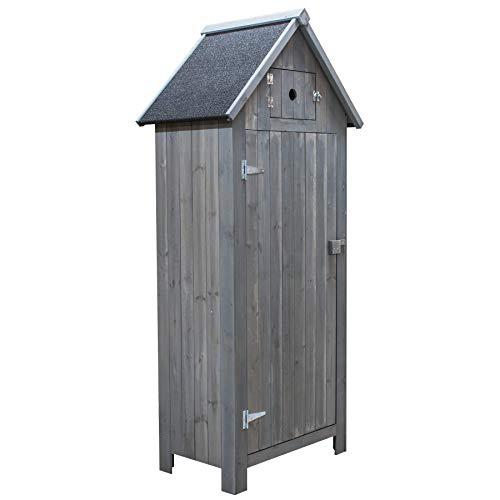 KCT Apex Garden Storage Cupboard Shed in Grey Wood Stain