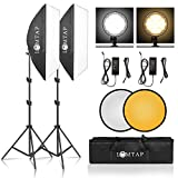 LOMTAP Softbox Photography Lighting Kit Professional Bi-Color Soft Box with Double Color Temperature 45W LED Dimmable Light 2 in 1 Reflector and Light Stand for YouTube Photo Video Portrait Shooting