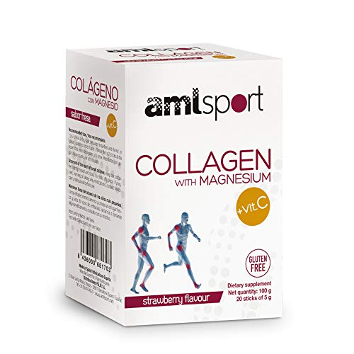 AMLsport - Collagen with magnesium + VIT C – 20 sticks (strawberry flavour). Strong joints. Tissue regenerator with hydrolised collagen types 1 and 2. 20-day treatment pack.