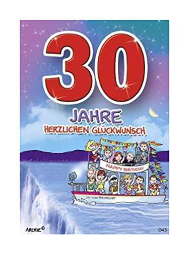 Depesche 5598.043 - Glückwunschkarte mit Motiv von Archie, 30. Geburtstag, rot