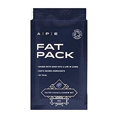 Fat Pack (10 x 28 grams)   Keto Bar   Keto Snack   Keto Diet   No Gluten or Dairy   Organic Real Food Ingredients   Raw Maple and Roasted Pecan Flavour   A P E Nutrition
