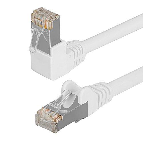 HB Digital Netzwerkkabel LAN Kabel 90° Winkel RJ45 Stecker 2m 200cm cat 6 weiß Weiss Kupfer Profi S/FTP PIMF LSZH Halogenfrei RoHS cat. 6 Cat6 AWG 27/7 RJ45 Port Ethernet Netzwerk AWG27 Patchcable