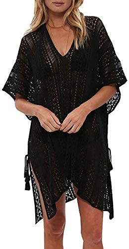 shermie Swimsuit Cover ups for Women Loose Beach Bikini Bathing Suit Cover up Black