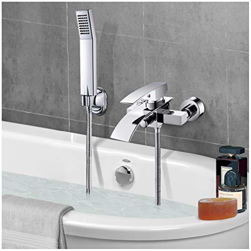 Grifo Bañera latón, VENTCY Monomando Ducha, Griferia Bañera Cromado, Ducha de lluvia para bañera con ducha de mano, manguera de ducha de 150 cm y soporte de ABS